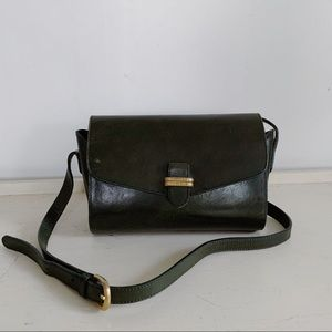 Vintage Leather Jade Green Crossbody Bag